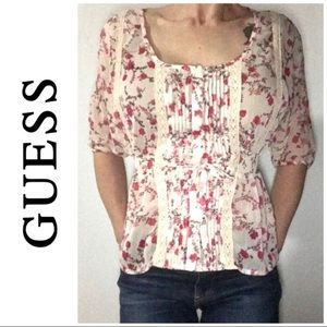 Guess Cream Pink Floral Pleated Blouse Top Small S